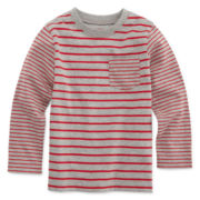 Okie Dokie® Long-Sleeve Striped Pocket Tee - Toddler Boys 2t-5t