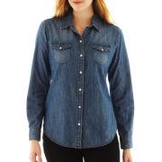 Liz Claiborne Long-Sleeve Denim Shirt