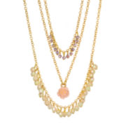 Delicates by PALOMA & ELLIE Crystal-Accent Gold-Tone 3-Row Peach Flower Necklace