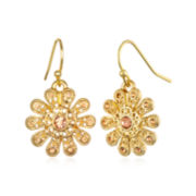 Delicates by PALOMA & ELLIE Crystal-Accent Gold-Tone Peach Filigree Earrings