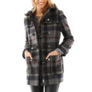 Liz Claiborne Wool-Blend Hooded Toggle Coat