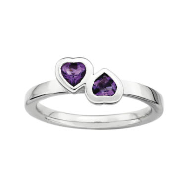 jcpenney.com | Personally Stackable Genuine Amethyst Sterling Silver Double-Heart Ring