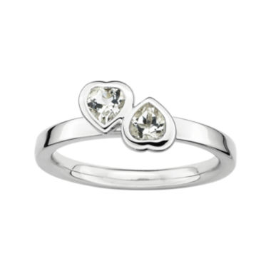 jcpenney.com | Personally Stackable Genuine White Topaz Sterling Silver Double-Heart Ring