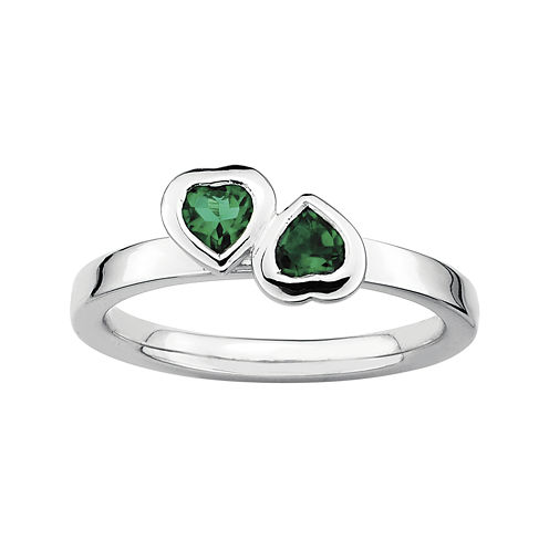 Personally Stackable Lab-Created Emerald Sterling Silver Double-Heart Ring