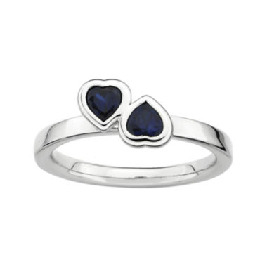 jcpenney.com | Personally Stackable Lab-Created Blue Sapphire Sterling Silver Double-Heart Ring