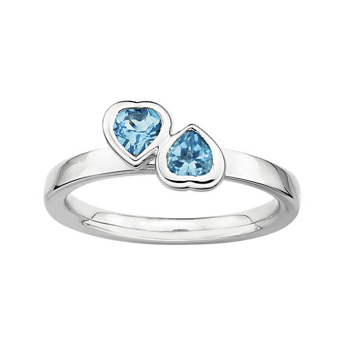 Personally Stackable Genuine Blue Topaz Sterling Silver Double-Heart Ring