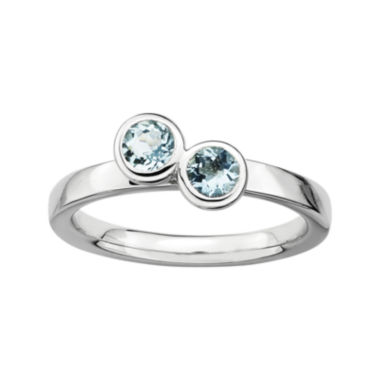 jcpenney.com | Personally Stackable Sterling Silver Double Genuine Aquamarine Ring