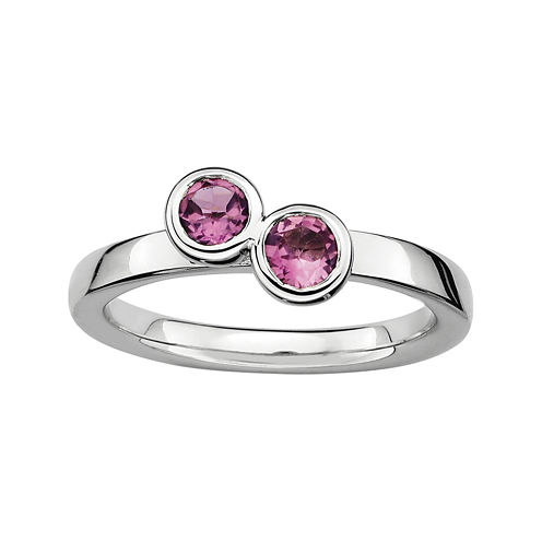 Personally Stackable Double Genuine Pink Tourmaline Ring