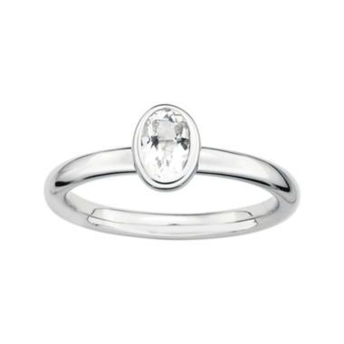 jcpenney.com | Personally Stackable Oval Genuine White Topaz Ring