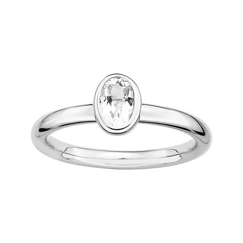 Personally Stackable Oval Genuine White Topaz Ring