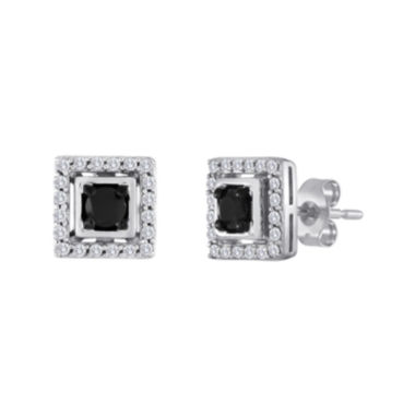 jcpenney.com | 1/2 CT. T.W. White and Color-Enhanced Black Diamond Square Earrings