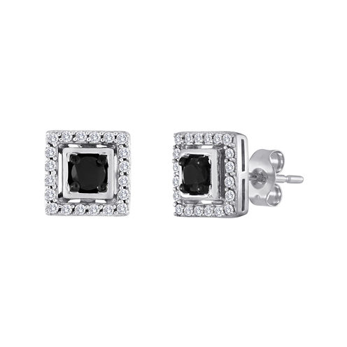 1/2 CT. T.W. White and Color-Enhanced Black Diamond Square Earrings