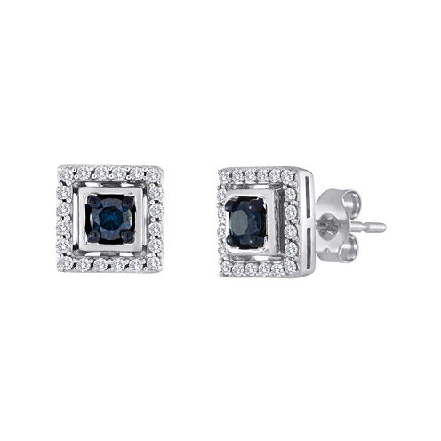 1/2 CT. T.W. White and Color-Enhanced Blue Diamond Square Earrings