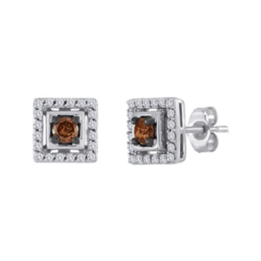 jcpenney.com | 1/2 CT. T.W. White and Champagne Diamond Square Earrings