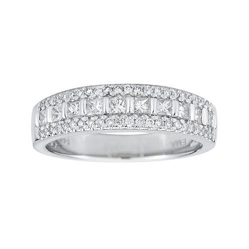 1/2 CT. T.W. Certified Diamond 14K White Gold Princess-Cut Band