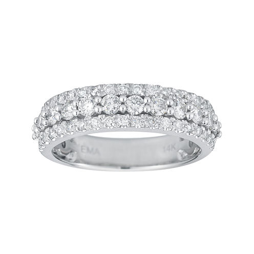 1 CT. T.W. Certified Diamond 14K White Gold Triple-Row Band