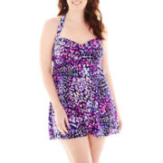 Jamaica Bay® Here Kitty Glam Halter 1-Piece Swimdress - Plus