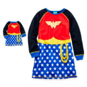 Wonder Woman Long-Sleeve Nightshirt and Matching Doll Nightshirt – Girls 4-12