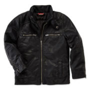 Arizona Zip-Front Pleather Moto Jacket – Boys 2t-6