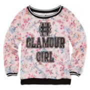 Knit Works Long-Sleeve Print Mesh Raglan Pullover – Girls 7-16