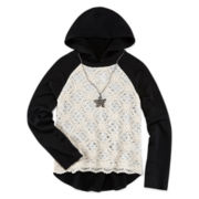 Beautees Lace Overlay Hoodie Necklace - Girls 7-16