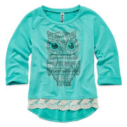 Beautees 3/4-Sleeve Lace-Trim High-Low Top – Girls 7-16