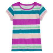 Arizona Short-Sleeve Striped Favorite Knit Tee - Girls 7-16 and Plus