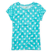 Arizona Short-Sleeve Polka Dot Favorite Knit Tee – Girls 7-16 and Plus