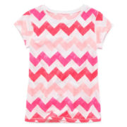 Arizona Short-Sleeve Chevron Knit Tee - Girls 7-16 and Plus