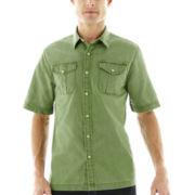 St. John's Bay® Short-Sleeve Crosshatch Woven Shirt