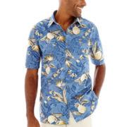 Island Shores™ Short-Sleeve Printed Cotton Sport Shirt