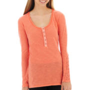 Arizona Long-Sleeve Lace-Inset Henley Tunic