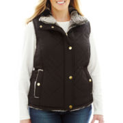 KC Collections Quilted Reversible Faux-Fur Vest - Plus