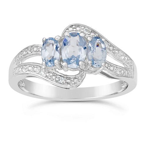 Womens Blue Aquamarine Sterling Silver 3-Stone Ring