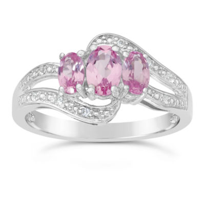 Womens Pink Sapphire Sterling Silver 3 Stone Ring Jcpenney