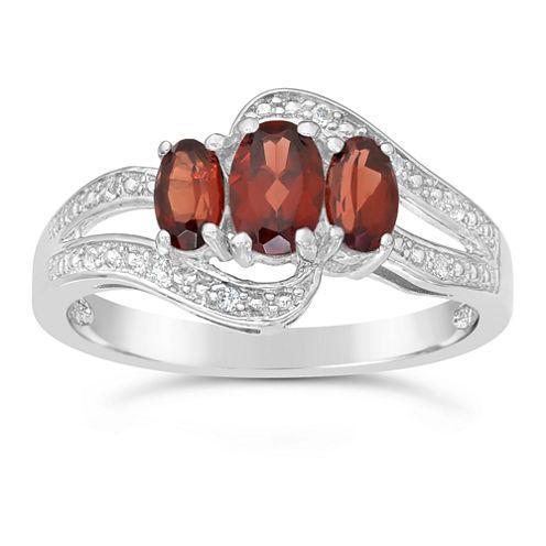 Genuine Garnet and White Topaz Sterling Silver 3-Stone Ring