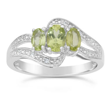 jcpenney.com | Genuine Peridot and White Topaz Sterling Silver 3-Stone Ring