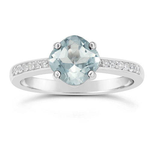 Womens Blue Aquamarine Sterling Silver Halo Ring