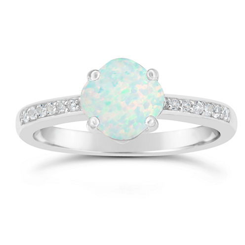 Womens White Opal Sterling Silver Halo Ring