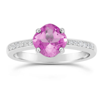 jcpenney.com | Womens Pink Sapphire Sterling Silver Halo Ring
