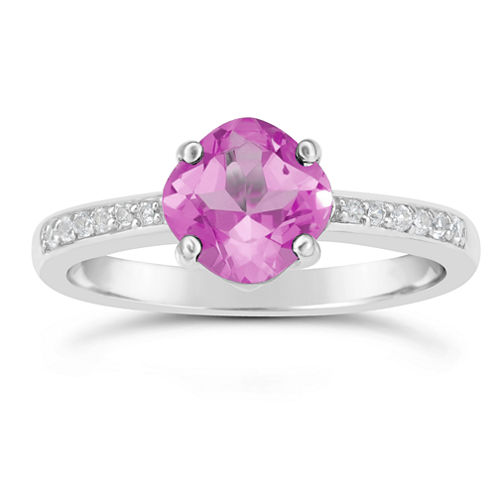 Womens Pink Sapphire Sterling Silver Halo Ring