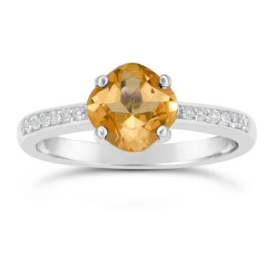 jcpenney.com | Genuine Citrine and White Topaz Sterling Silver Halo Ring