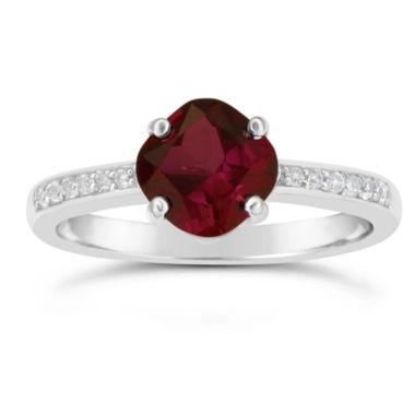 jcpenney.com | Genuine Garnet and White Topaz Sterling Silver Halo Ring