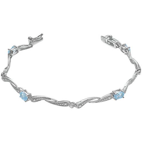 Womens 7.25 Inch Blue Aquamarine Sterling Silver Link Bracelet