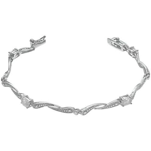 Womens 7.25 Inch White Topaz Sterling Silver Link Bracelet