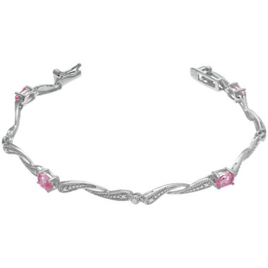 jcpenney.com | Womens 7.25 Inch Pink Sapphire Sterling Silver Link Bracelet