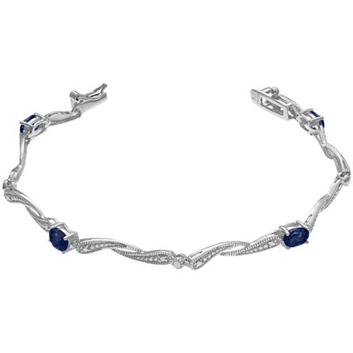 Womens 7.25 Inch Blue Sapphire Sterling Silver Link Bracelet