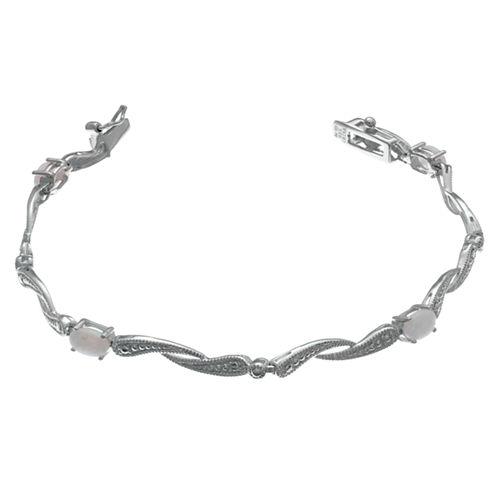 Womens 7.25 Inch White Opal Sterling Silver Link Bracelet