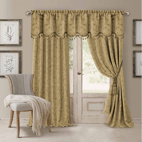 Elrene Mia Jacquard Blackout Back-Tab Curtain Panel