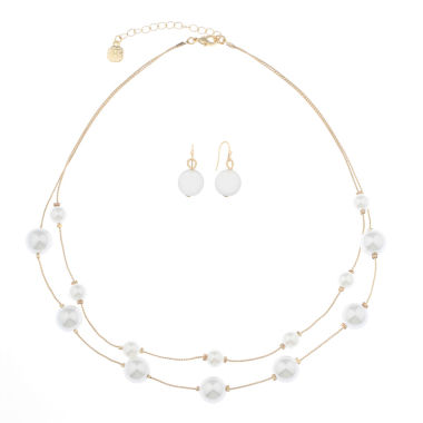 jcpenney.com | Monet Jewelry Womens 2-pc. White Goldtone Two Row Necklace Set